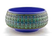 Italian Bitossi Aldo Londi Vintage c.60's Modernist Pottery Lrg Rimini Blu Bowl