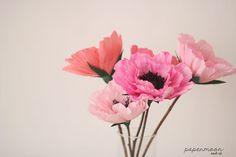 Anémonas de papel en tonos rosas http://www.papermoonandco.com/