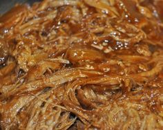 BBQ pulled pork  2-3 lb pork tenderloin and season it with salt and pepper  2 onions, chopped  12-oz bottle bbq sauce  1/4 c honey      Just put a lid on it for 6 to 8 hours on Low…    When it is done and the meat easy pulls away with a fork, take two forks and shred the meat, mixing well with the sauce and onions.