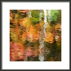 Fall Colors Abstract Reflection by Christina Rollo © www.rollosphotos.com. Colorful fall foliage reflecting on the surface of water with wind and waves. #colorful #abstract #rollosphotos #art