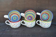 Awesome Dots and Stripes Ceramic Coffee or Soup Mug - 28 oz. - OOAK Hand Painted Mug. $30.00, via Etsy.