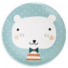 Lautanen Jääkarhu, sininen, Petit Monkey