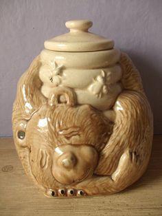 Jahrgang 1980 McCoy Cookie jar, schlummern, Bär, die Bienen Bienenwabe, Mccoy Keramik, Keramik Tier Teddybär, Land Kabine Küche Geschenk für Sie