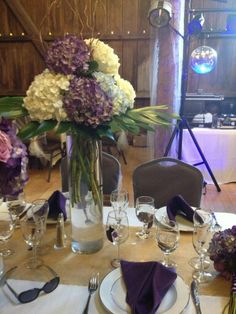 Purple And White Hydrangea Centerpiece With Curly Willow For Head Table Burlap Runner Artofabric