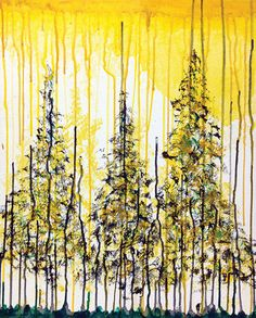 Join us for a creative way of painting Colorado's classic Pine! Artist: Amy Happy Hour from starts at PMPainting starts at PM Cute Paintings, Canvas Paintings, Watercolor Painting Techniques, Watercolour, Paint And Sip, Crayon Art, Alcohol Ink Art, Yellow Painting, Nature Images