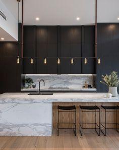Modern Kitchen Interiors, Home Decor Kitchen, Interior Design Kitchen, Home Design, Contemporary Kitchens, Kitchen Modern, Scandinavian Kitchen, Modern Contemporary, Modern Luxury