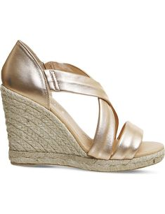 New Exclusive Womens Office Holiday Cross-Front Espadrille Wedges Rose Gold Leather - Office Sandals New Style