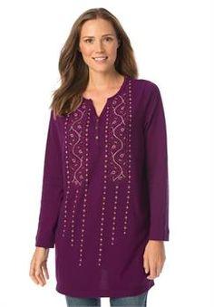 91de1c919f0 Plus Size Embroidered Henley tunic Trendy Plus Size