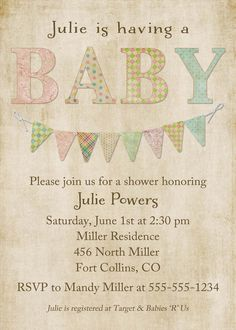 baby shower invitations gender neutral baby by katiedidesigns, $13.00