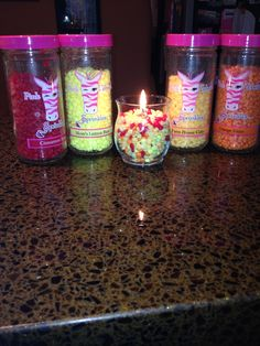 Mix Pink Zebra sprinkles to create your own candle!