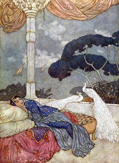 Edmund Dulac-White Peacock and Princess