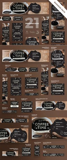 Buy Coffee Time Banner Pack by ambergraphics on GraphicRiver. Stand out of the crowd with a perfect banners pack. Big set of banners – 21 various forms and sizes to improve the lo. Youtube Banner Template, Youtube Banners, Mocha Coffee, Coffee Cafe, Coffee Mugs, Photomontage, Banner Instagram, Web Banner Design, Web Banners