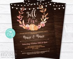 Fall in Love Invitations Pumpkin Engagement Party Couple's Shower Rustic Printable INSTANT DOWNLOAD Wood Autumn Personalize Editable WCWE051 Printing Websites, Printing Services, Online Printing, Halloween Wedding Invitations, Event Page, Couple Shower, Letter Size, Fall Pumpkins, Text Color