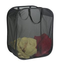This Black Pop Up Micro Mesh Clothes Hamper gives you a simple way to store your dirty laundry in your bedroom or laundry room.