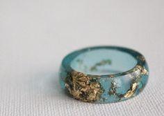 Size 9.5 aqua gold round eco resin ring by RosellaResin on Etsy