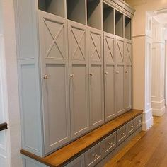 Gray Mudroom Lockers with Bench, Transitional, Laundry Room