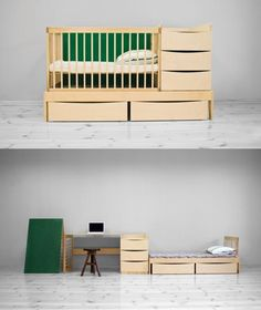 Kids furniture set transforms from crib and changing station to older kids bedroom set. From Adensen Furniture.