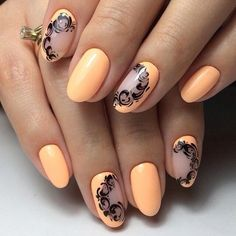 Apricot nails, Business nails, Drawings on nails, Everyday nails, Fall nail…