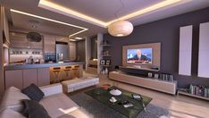 Open plan living space idea for a bachelor pad - Decoist / kleuren en interieur geheel, niet de tafel