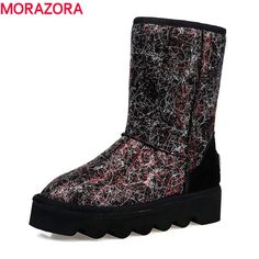 48.78$  Watch here - http://ai9a7.worlditems.win/all/product.php?id=32757491789 - MEMUNIA 2017 genuine leather snow boots new fashion women boots platform flats thick fur snow boots cowhide ankle boots
