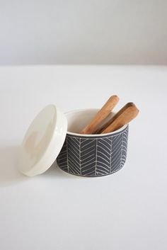 Handmade ceramic herringbone salt cellar.