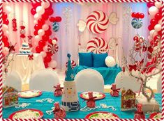 Festive table at a Winter Wonderland party!  See more party planning ideas at CatchMyParty.com!