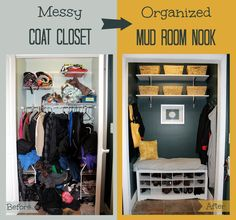 I have an amazing closet in my living room I use for coats but it is a disaster....totally doing this.