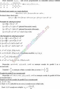 Formule matematica gimnaziu 5 8 Formule si teorie Algebra clasele 5 8 pagina 7 Algebra, Desktop, Calculus, Geometry