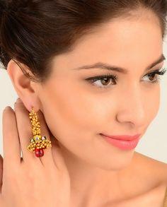 Golden Beaded Earrings with Jhumki Drop