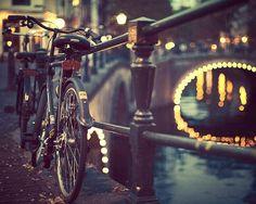 Amsterdam Photography, Bicycle Art, Blue Black Night, Bridge Lights, Fine Art Photography, Urban Art, City Europe - Going Dutch