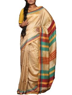 Details:  Hand woven tusser silk handloom saree by Ecostree. Specification: Length: 5.5 meters Width: 1.1 meter Blouse Piece: Yes, 80-90 cms Care information: The Silk sarees need to be treasured and handled with care. Only dry clean the sarees and keep under polybags to avoid damage. Shipping and Delivery: We ensure the delivery of the product in best condition possible. All silk sarees need to be polished before going to customers' hand, therefore maximum of 8-10 days are