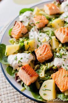 Salade au Saumon, Pommes de Terre et Concombre Mariné. Délicieux