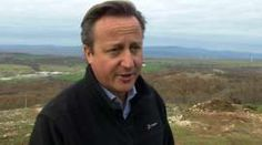 David Cameron stands just within the Bulgarian border with Turkey