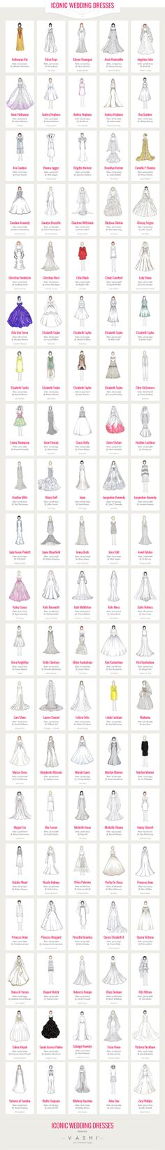 Thanks to Vashi, you can see illustrations of the most iconic (and beautiful!) wedding dresses ever.