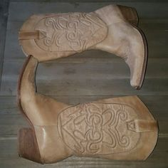 "Penny Loves Kenny High Noon Cowboy Boots Genuine leather upper ladies cowboy boots. 2.25"" heel, height of boot is approx 13."" Size 6 but fits like a 5.5. See pic 3 for scuffing on the toe area. Super cute. You can wear with cute shift dress, skirt, shorts or leggings. Light brown almost buff or nude color. Penny Loves Kenny  Shoes Heeled Boots"