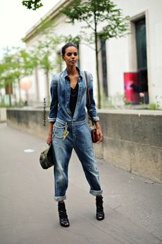 could not love that denim number more. #GraceMahary #offduty in Paris.
