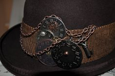 men's steampunk hat, brown derby/bowler