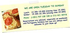WE ARE OPEN TUESDAY TO SUNDAY Lunch: (closing time (closing time Phone: 707 108 108 or 213 421 Reservations are advised, especially on weekends and Portuguese holidays but you are always most welcome to just show up! Vegan Restaurants, Portuguese, Welcome, Tuesday, Buffet, Portugal, Vegetarian, Lunch, Holidays