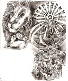 Lion and lamb jesus cross angels devil satan battle fight tattoo. black and grey arm half sleeve chest. by Jasmine Mills