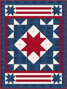 Yankee Doodle Quilt Kit 60 x 80 Barn Quilt Designs, Barn Quilt Patterns, Quilting Designs, Lap Quilts, Panel Quilts, Small Quilts, Scrappy Quilts, Blackwork, Zentangle