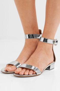 Gianvito Rossi - Portofino Metallic Leather Sandals - Silver - IT37.5