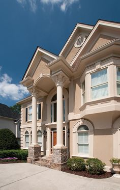 1000 images about front porticos for great curb appeal on pinterest porticos georgia and - Two story gable roof houses ...