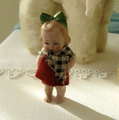 Tiny Antique Bisque Girl Doll Germany with Hair Bow