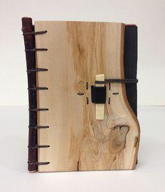 "Flitch Book:  Margo Klass. Coptic binding, leather and bone clasp 4.5 x 3.5 x 1.5"""