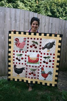 """Chickens, Cherries & Checks from the book """"Quilts for all Seasons"""" by Sandy Klop  ~  made by A Little Bit Biased"""