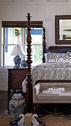 Home Decor – Bedrooms : Our Blue and White Ceramic Collection exudes the exquisite artistry of the Ming Dynasty. White Bedroom Furniture, Blue Bedroom, Home Decor Bedroom, Diy Bedroom, Master Bedroom, Bed Furniture, Modern Bedroom, Girls Bedroom, Furniture Ideas