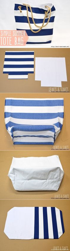 DIY Bags for Summer - DIY Fabric Basket - Simple Ideas for Beach and Pool . - DIY bags for summer – DIY fabric basket – simple ideas for the beach and pool … - Sewing Hacks, Sewing Tutorials, Sewing Crafts, Sewing Ideas, Sewing Diy, Fabric Crafts, Sewing For Kids, Summer Tote Bags, Diy Tote Bag