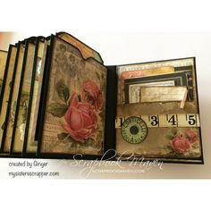 Inside Ginger's Mini Album using the Garment District Kit at Scrapbook Maven