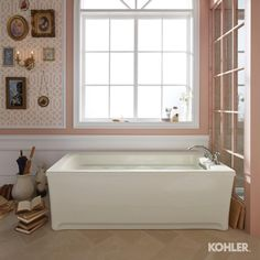 A soothing, sunlit bath provides a truly relaxing space. Click the link on our profile to see the full bathroom. #KohlerIdeas