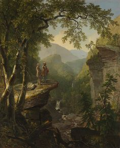 The Hudson River School was a mid-19th century American art movement embodied by a group of landscape painters whose aesthetic vision was influenced by romanticism. The paintings originally depicted the Hudson River Valley and environs. 'Kindred Spirits' by Asher Brown Durand, was commissioned by merchant-collector Jonathan Sturges as a gift for William Cullen Bryant in gratitude for the nature poet's eulogy to Thomas Cole, who had died suddenly during early 1848.